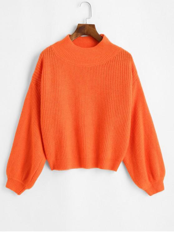 women Mock Neck Drop Shoulder Lantern Sleeve Sweater - ORANGE ONE SIZE
