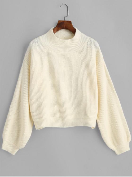 ladies Mock Neck Drop Shoulder Lantern Sleeve Sweater - WHITE ONE SIZE