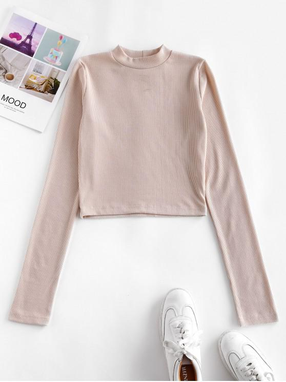 womens Ribbed Mock Neck Cropped Tee - APRICOT L