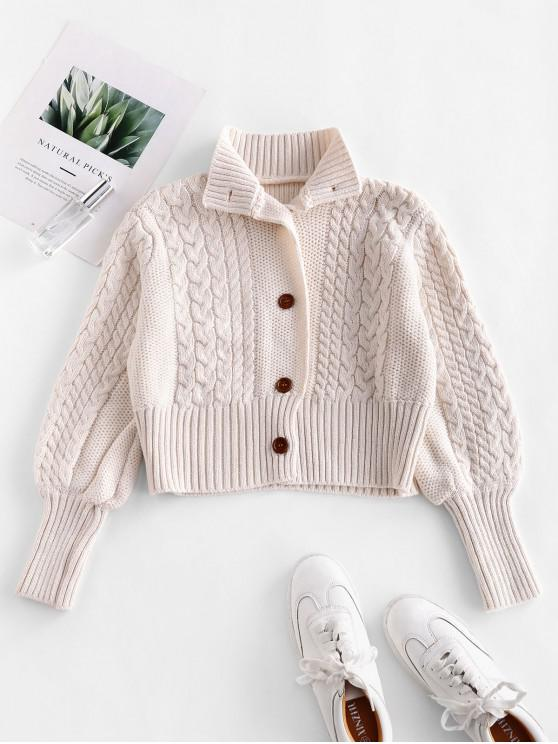 buy Mock Neck Button Up Cable Knit Cardigan - WHITE ONE SIZE