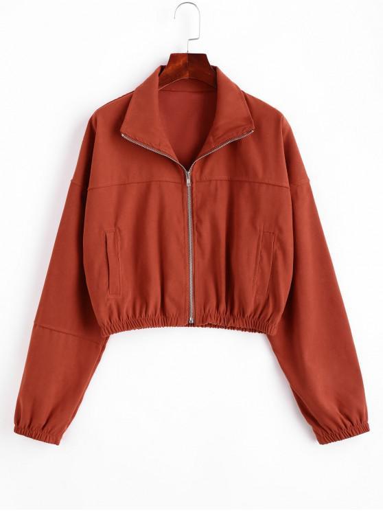 fashion ZAFUL Zip Up Drop Shoulder Pocket Jacket - CHERRY RED S
