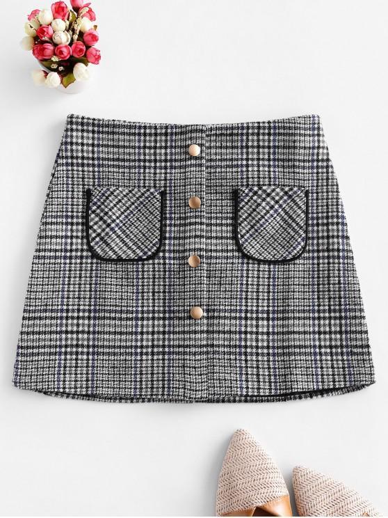 chic Plaid Pocket Mock Button Tweed Skirt - MULTI-A L