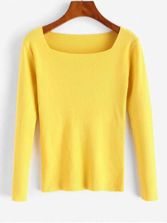 latest Square Neck Slim Knitted Sweater - YELLOW ONE SIZE