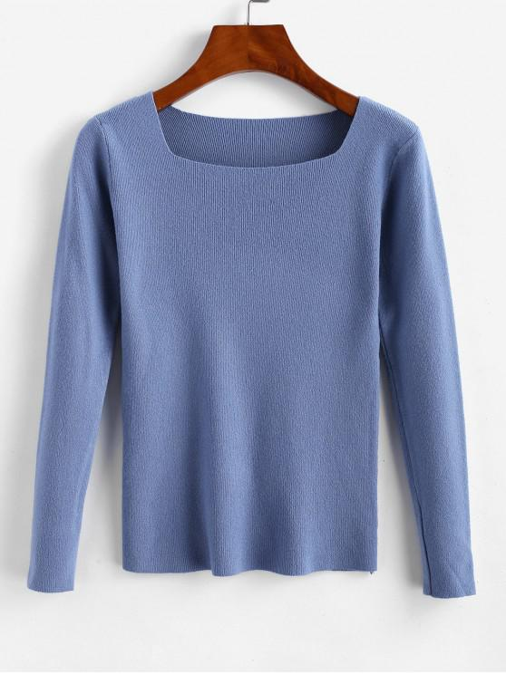 fancy Square Neck Slim Knitted Sweater - BLUE GRAY ONE SIZE