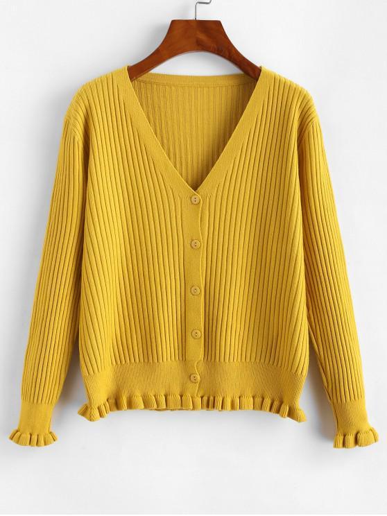 Gulerat Button Hem Ribbed Front Cardigan - Galben O marime