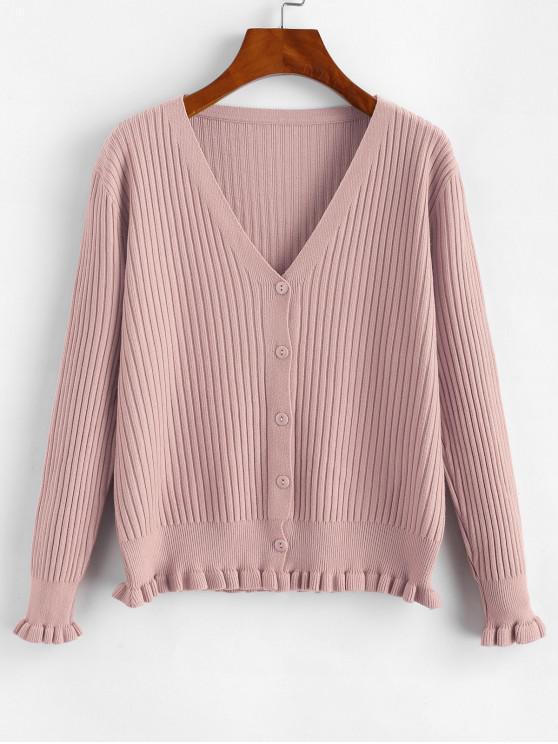 Gulerat Button Hem Ribbed Front Cardigan - Roz O marime