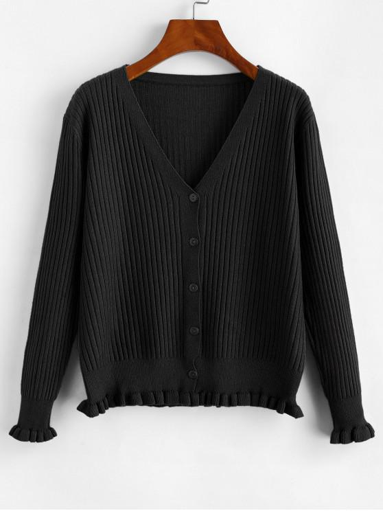 new Frilled Hem Ribbed Button Front Cardigan - BLACK ONE SIZE