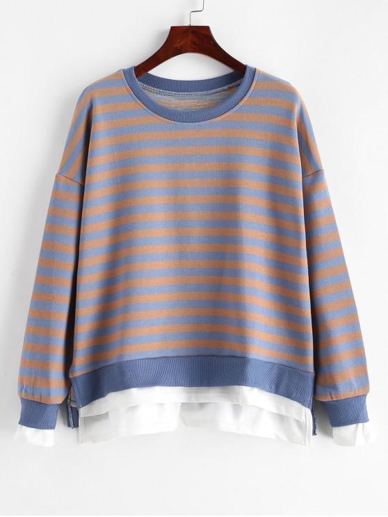 chic Striped Drop Shoulder Slit Sweatshirt - MULTI M