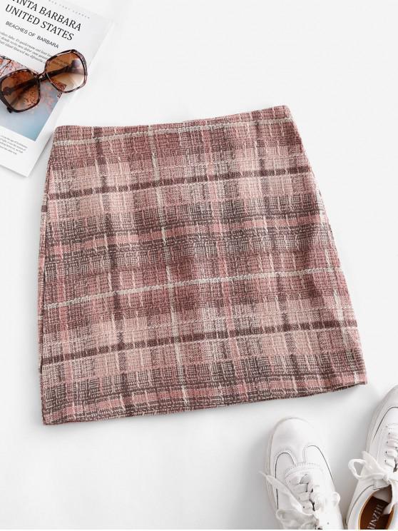 chic Back Zipper Plaid Tweed Mini Skirt - PINK L