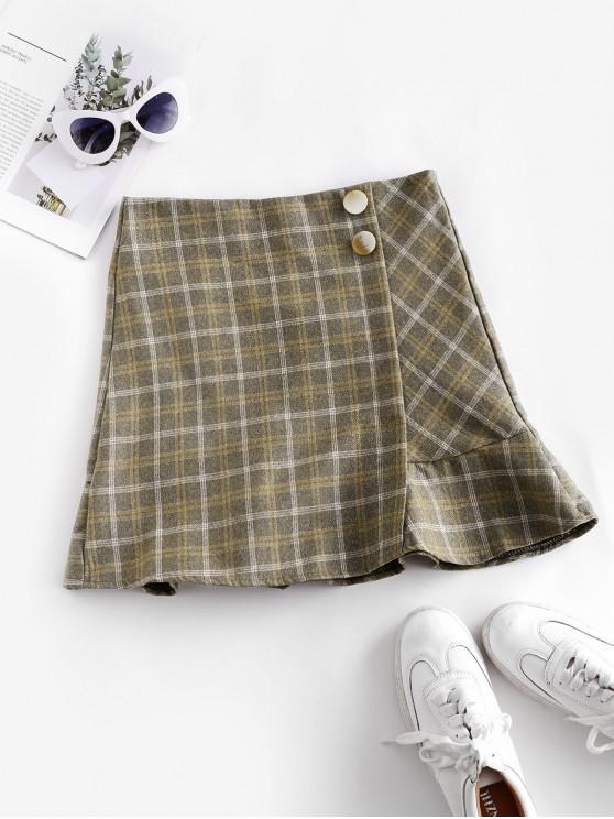 affordable Back Zipper Plaid Ruffles Mini Skirt - GREEN XS
