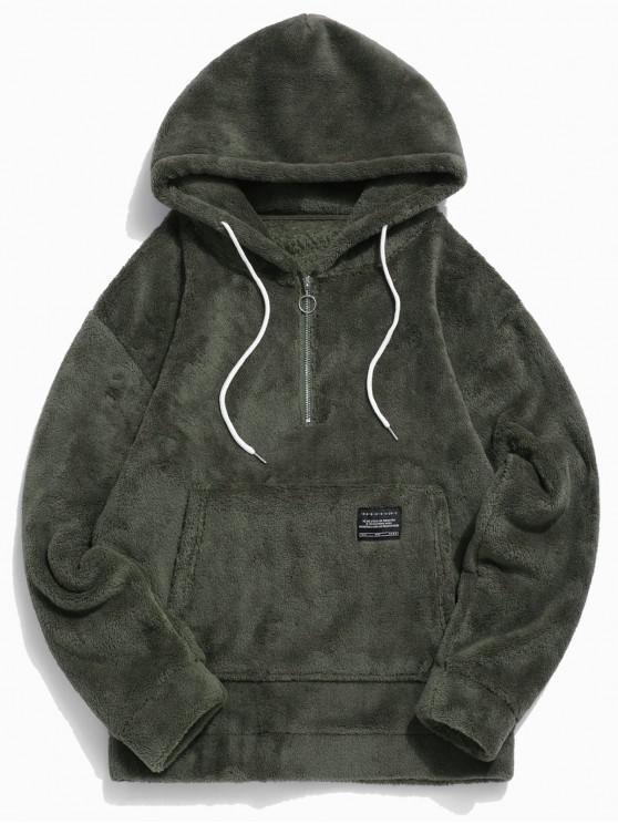 best Applique Solid Color Faux Fur Half Zipper Drawstring Hoodie - ARMY GREEN XL