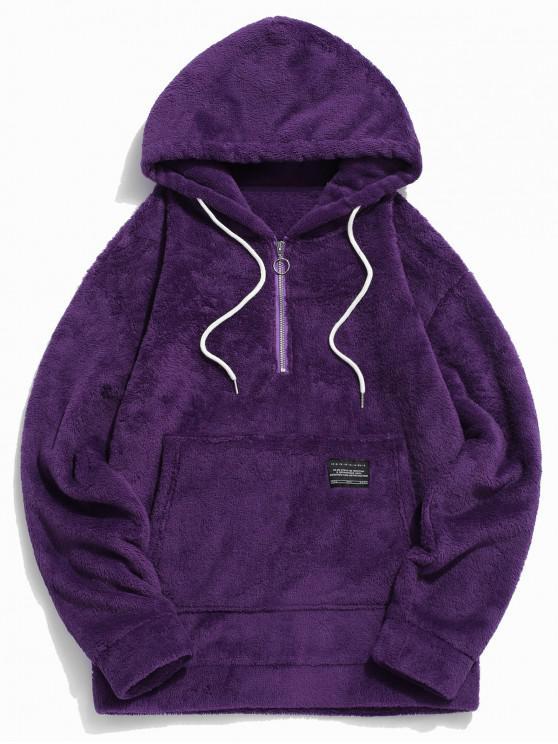 hot Applique Solid Color Faux Fur Half Zipper Drawstring Hoodie - PURPLE M