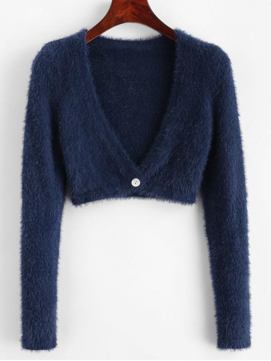 Cardigan decupat Fuzzy One Buttoned - Albastru S