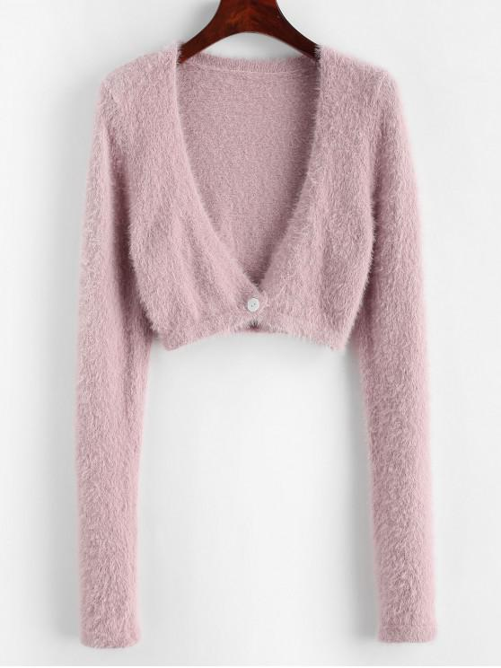 unique Cropped Fuzzy One Buttoned Cardigan - LIPSTICK PINK S