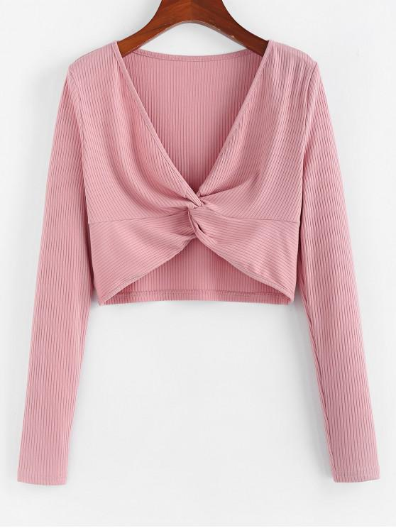 unique ZAFUL Plunging Ribbed Twisted T-shirt - ROSE S