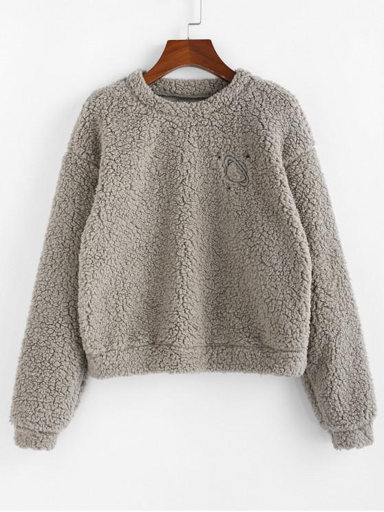 ZAFUL Sweat-shirt Teddy Fourré Planète en Fausse Laine - Gris Carbone M