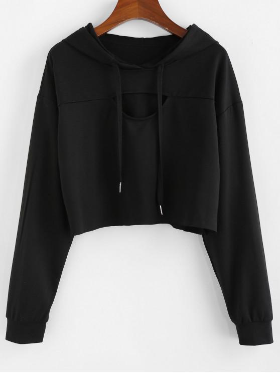 fashion ZAFUL Cutout Drop Shoulder Crop Hoodie - BLACK M