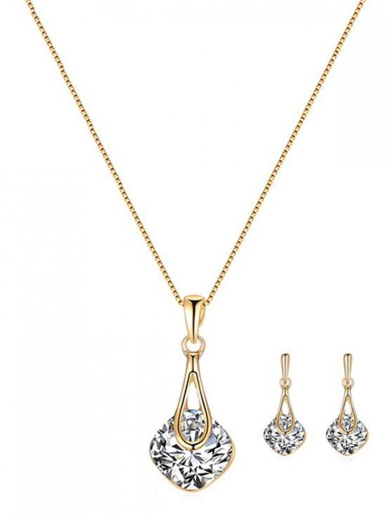 هندسي الجوف حجر الراين مجموعة مجوهرات الزفاف - ذهب