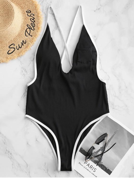 ZAFUL Ribbed Contraste Piping Entrecruzamento uma peça Swimsuit - Preto M