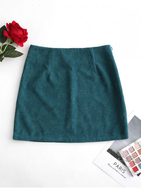 new Solid Color Corduroy A Line Skirt - GREENISH BLUE XL