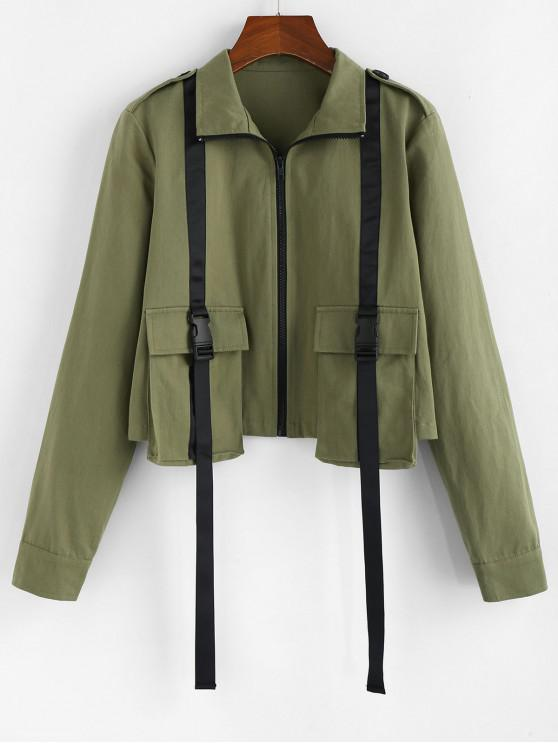 chic ZAFUL Front Pockets Buckles Jacket - ARMY GREEN L