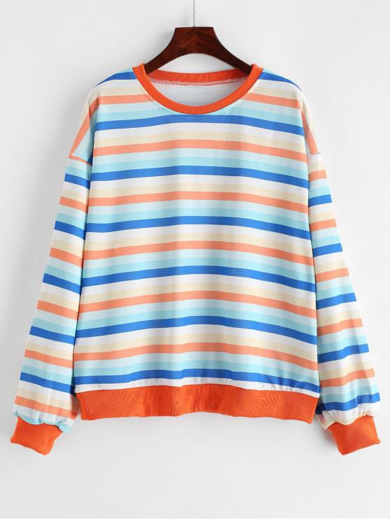 sale Rainbow Drop Shoulder Loose Sweatshirt - MULTI ONE SIZE