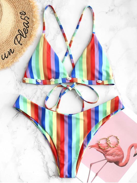 ZAFUL arcobaleno Shell ha abbellito il Criss Cross Bikini - Multi Colori-A L