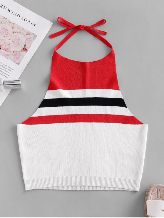 lady ZAFUL Knitted Colorblock Stripes Cropped Tank Top - MULTI-A M