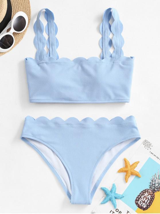 ZAFUL Strukturierter Überbackener Bikini Badeanzug - Himmelblau S