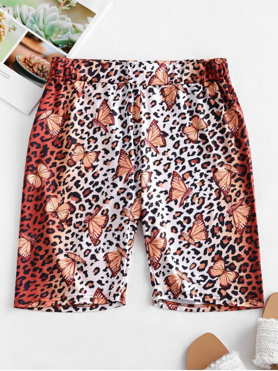 new Leopard Butterfly High Waisted Biker Shorts - LEOPARD S