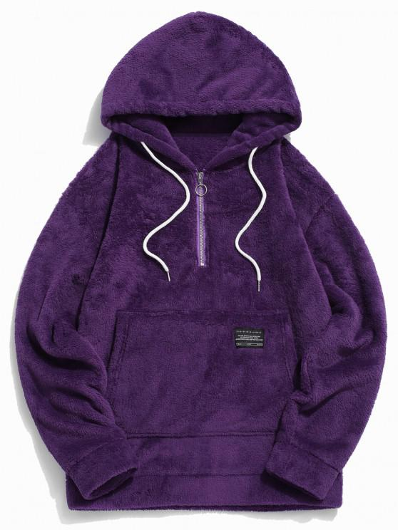 unique Applique Solid Color Faux Fur Half Zipper Drawstring Hoodie - PURPLE S
