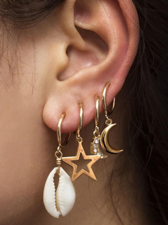shops 4Pcs Shell Stars Moon Drop Earrings Set - GOLD