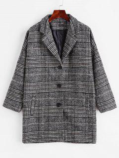 Manteau Long Goutte Epaule à Carreaux Avec Poche - Gris Foncé L