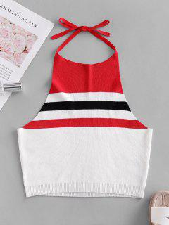 ZAFUL Knitted Colorblock Stripes Cropped Tank Top - Multi-a M