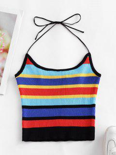 ZAFUL Halter Knitted Colorful Stripes Crop Top - Multi-a S