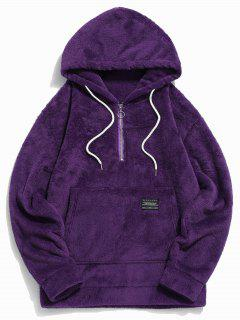 Applique Solid Color Faux Fur Half Zipper Drawstring Hoodie - Purple 2xl
