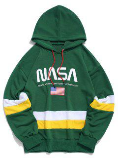 ZAFUL American Flag Color Blocking Letter Print Hoodie - Medium Sea Green 2xl