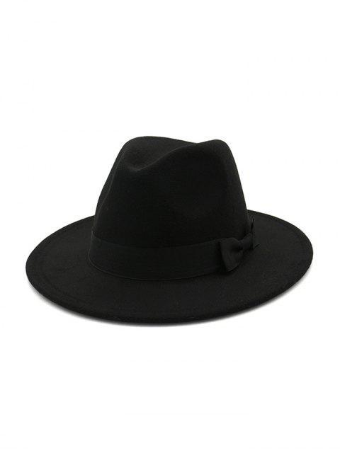 online British Style Bowknot Felt Jazz Hat - BLACK  Mobile