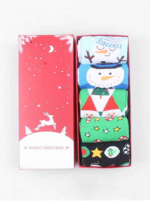 women 5Pairs Christmas Elk Santa Socks Set - MULTI-C  Mobile