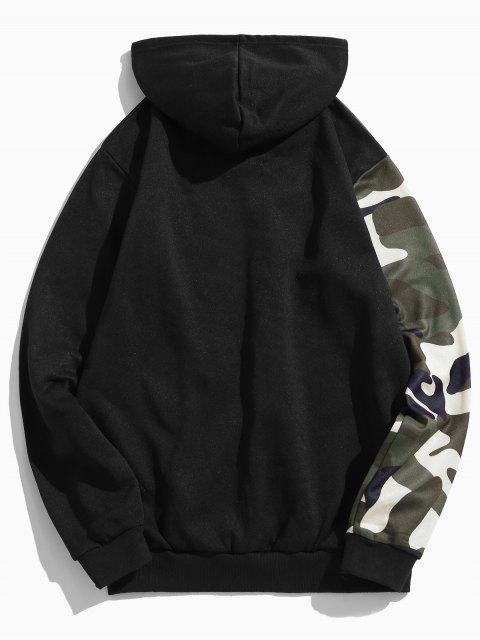 Camuflaje Imprimir Colorblock empalme Fleece con capucha con cordón - Negro M Mobile