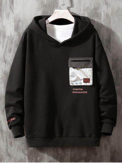 Carta de bolsillo metálico Solapa Imprimir Sudadera con capucha - Negro XS Mobile