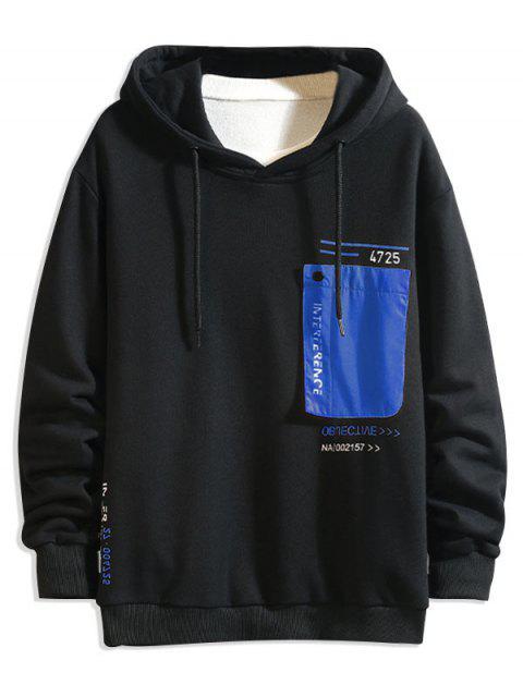 Colorblock Patch empalmado con capucha con cordón de impresión de letras - Azul 3XL Mobile