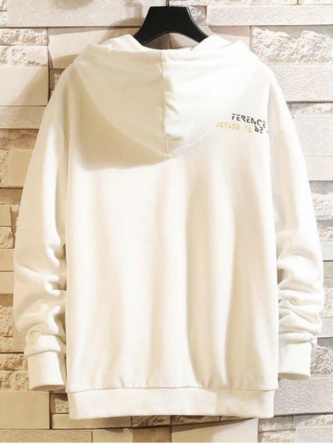 Colorblock Patch empalmado con capucha con cordón de impresión de letras - Blanco XL Mobile