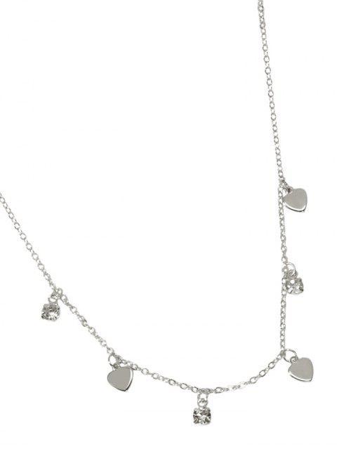 Collier Simple Cœur avec Strass - Argent  Mobile