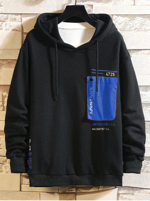 Colorblock Patch empalmado con capucha con cordón de impresión de letras - Azul M Mobile