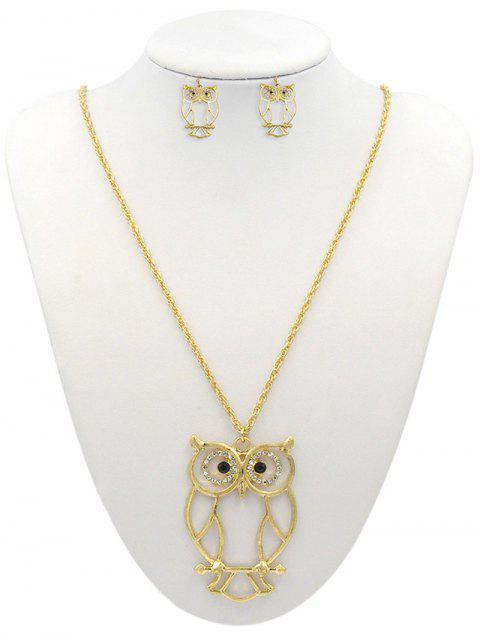 Подвеска совы Ажурное Ожерелье Серьги Набор - Золотой  Mobile