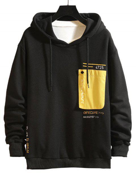 Colorblock Patch empalmado con capucha con cordón de impresión de letras - Amarillo XL Mobile
