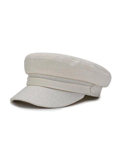 shop Solid Casual Flat Cadet Cap - MILK WHITE  Mobile