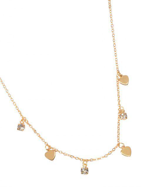 Collier Simple Cœur avec Strass - Or  Mobile