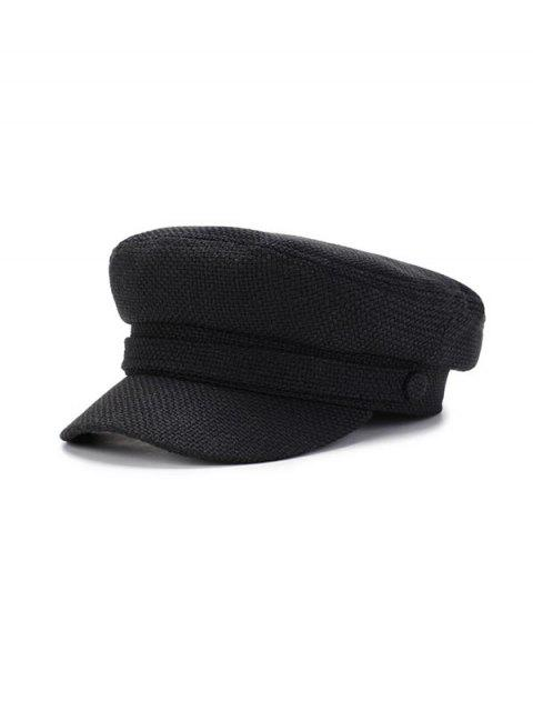 women's Solid Casual Flat Cadet Cap - BLACK  Mobile